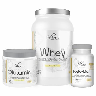 Kit Slim Whey Baunilha 900g + 01 Testo-man 60 Cáps + 01 Glutamin 250g - Slim -