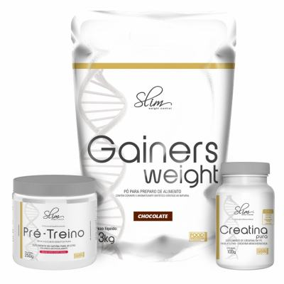 Kit Slim Gainers Weight Chocolate 3kg + 01 Pré Treino 250g + 01 Creatina Pura 100g - Slim -