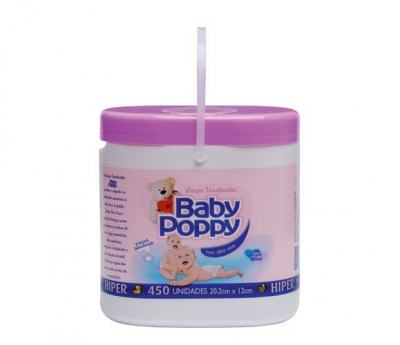 Lenço Umedecido Baby Poppy Sem Sabao Roxo 450 unidades