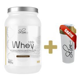 Whey 100% 900g - Slim - Chocolate Grátis Uma Coqueteleira. -