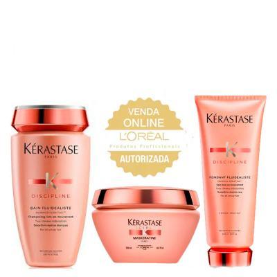 Kérastase Discipline Fluidealiste Kit - Shampoo + Condicionador + Máscara - Kit