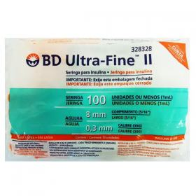 Seringa para Insulina BD Ultra Fine II Agulha Curta (Seringa de 1 mL c/ Agulha de 8mm x 0,3mm)